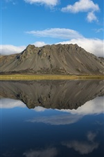 Preview iPhone wallpaper Iceland, Borgarnes, lake, mountain, water reflection