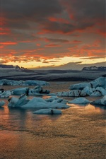 Preview iPhone wallpaper Iceland, Jokulsarlon, ice, sea, sunset