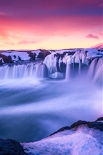 Preview iPhone wallpaper Iceland, beautiful snow, amazing landscape, sunrise