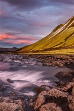 Iceland, mountain, slope, stones, river, clouds, dusk