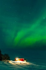 Preview iPhone wallpaper Iceland, wonderful northern lights, house, night, snow, winter