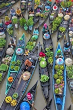 Preview iPhone wallpaper Indonesia, floating market, trade, river, boats