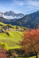 Preview iPhone wallpaper Italy, Alps, beautiful scenery, forest, trees, mountains, village, autumn