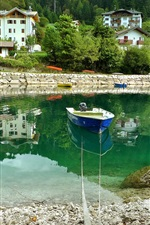 Preview iPhone wallpaper Italy, Molveno, river, boat, stones, houses