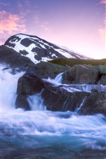 Preview iPhone wallpaper Jotunheimen, mountain, river, stones, sunset, Norway