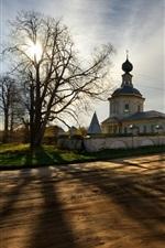 Kostroma, Russland, Tempel, Bäume, Sonnenuntergang