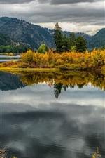 Preview iPhone wallpaper Lake Alva, trees, water reflection, Montana, USA
