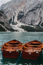 Preview iPhone wallpaper Lake, boats, mountains