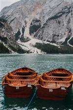 iPhone fondos de pantalla Lago, barcos, montañas