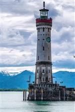 Preview iPhone wallpaper Lake, lighthouse, Lindau, Bayern, Germany