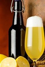 Preview iPhone wallpaper Lemon, beer, foam, bottle, spikelets, barrel