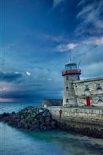 Lighthouse, sea, coast, stones, clouds, sky