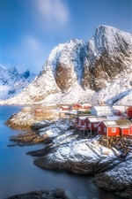 Preview iPhone wallpaper Lofoten beautiful landscape, houses, fjord, mountains, snow, winter, Norway