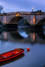 Preview iPhone wallpaper London, England, Richmond bridge, river, boat, night