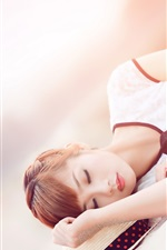 Preview iPhone wallpaper Lovely Asian girl sleep, book, beach