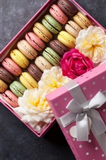 Preview iPhone wallpaper Macaron, colorful, box, gift, sweet food, flowers