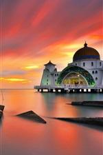 미리보기 iPhone 배경 화면 말레이시아, 말라카, 바다, 일몰, 해협 모스크