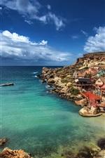 미리보기 iPhone 배경 화면 몰타, 뽀빠이 마을, 지중해, 바다, 해안, 주택