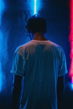 Preview iPhone wallpaper Man back view, neon