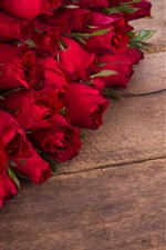 Preview iPhone wallpaper Many red roses, flowers, wood