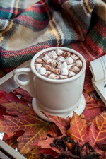 Preview iPhone wallpaper Marshmallow, drinks, cocoa, book, maple leaves