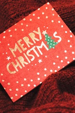 Preview iPhone wallpaper Merry Christmas card, gift box, shine