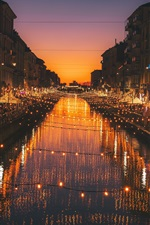 Preview iPhone wallpaper Milan, Italy, night, river, lights, city