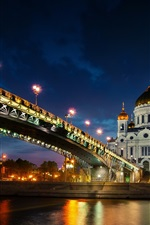 Preview iPhone wallpaper Moscow, bridge, water reflection, river, night, lights, Russia