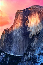 Preview iPhone wallpaper Mountain, red sky, sunset