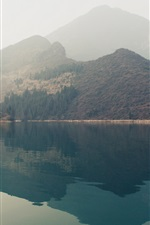 Preview iPhone wallpaper Mountains, lake, water reflection, fog, morning