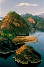Preview iPhone wallpaper Mountains, river, islands, boats, beautiful landscape