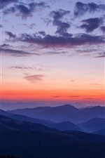 Preview iPhone wallpaper Mountains, sky, clouds, sunset, nature landscape