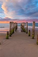 Preview iPhone wallpaper New Zealand, beach, sea, clouds, pier