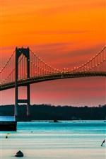 Preview iPhone wallpaper Newport, bridge, lights, lighthouse, dusk, Rhode Island, USA