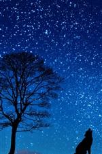 iPhone fondos de pantalla Noche, árbol, lobo, luna, estrellas, silueta