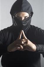 Preview iPhone wallpaper Ninja, pose, black uniform