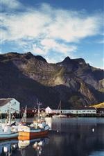Preview iPhone wallpaper Norway, Lofoten, bay, pier, boats, mountains