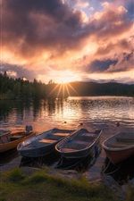 Preview iPhone wallpaper Norway, Ringerike, lake, boats, trees, sunrise