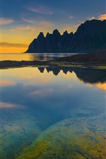 Norway, sea, mountains, sunset, dusk