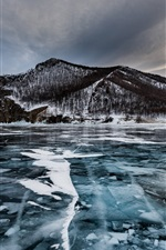 Preview iPhone wallpaper Olkhon Island, lake, ice, trees, winter, Russia