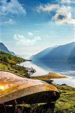 Preview iPhone wallpaper Oppland, Norway, lake, boat, mountains