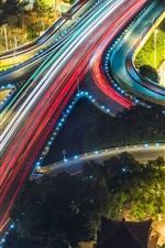 Overpass bridge, roads, strip lights, colorful, city night