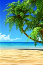 Preview iPhone wallpaper Palm trees, beach, sea, clouds, tropic
