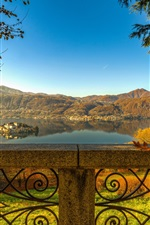 Preview iPhone wallpaper Piedmont, Lake Orta, San Giulio island, fence, trees, Italy