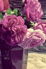Preview iPhone wallpaper Pink peonies, vase, wood board