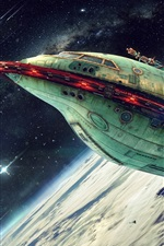 Preview iPhone wallpaper Planet Express, spaceship, art picture