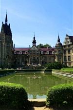 Preview iPhone wallpaper Poland, Moszna Castle, pond, bushes