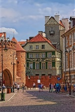 Preview iPhone wallpaper Poland, Warsaw, Barbican, street, city, old town, people, street