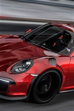 Preview iPhone wallpaper Porsche 911 red sports car speed, GTA game