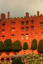 Powis Castle, Wales, England, trees, clouds